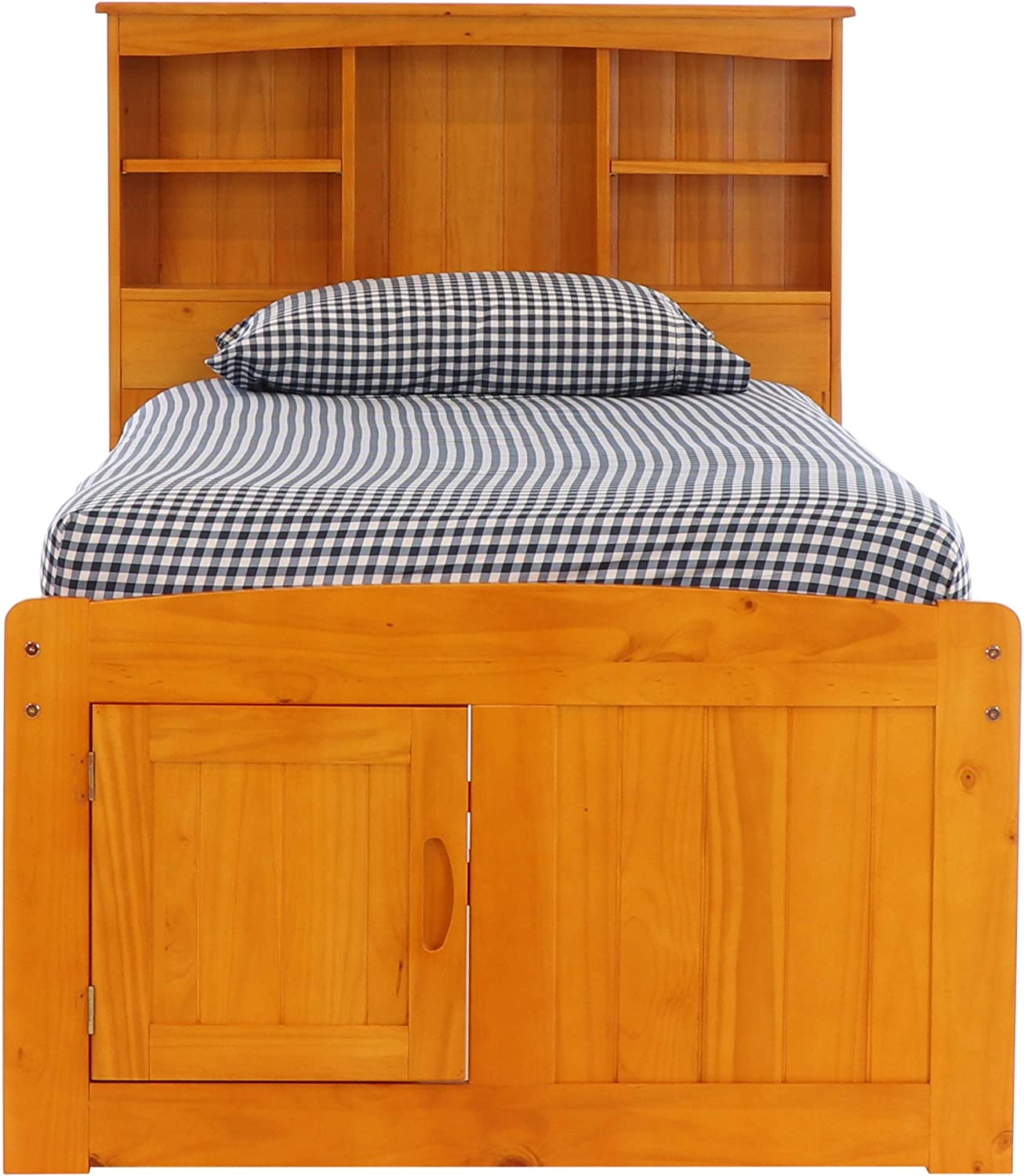 Discovery World Furniture Twin Captains Bed Bookcase with 6 Drawers, Desk, Hutch, Chair and 5 Drawer Chest in Honey Finish