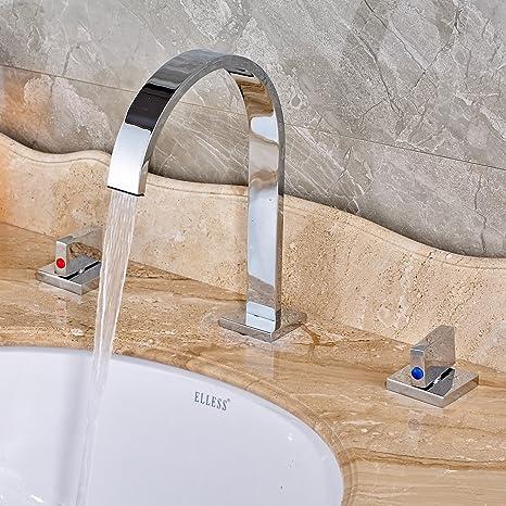 Inchant Two Handle Three Hole Waterfall Bathroom Vessel Sink Faucet