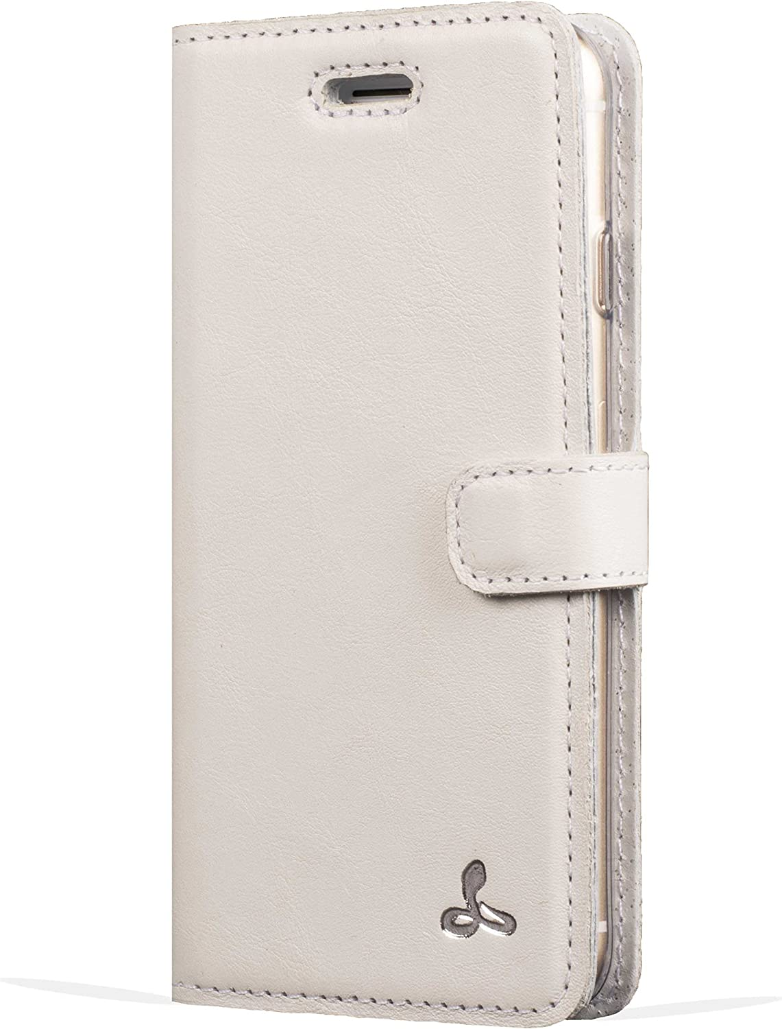 Apple iPhone 5 / 5S / SE Premium Pastel Leather Case with Credit Card/Note Slot for Apple iPhone 5 / 5S / SE (Porcelain) from The Pastel Collection by Snakehive