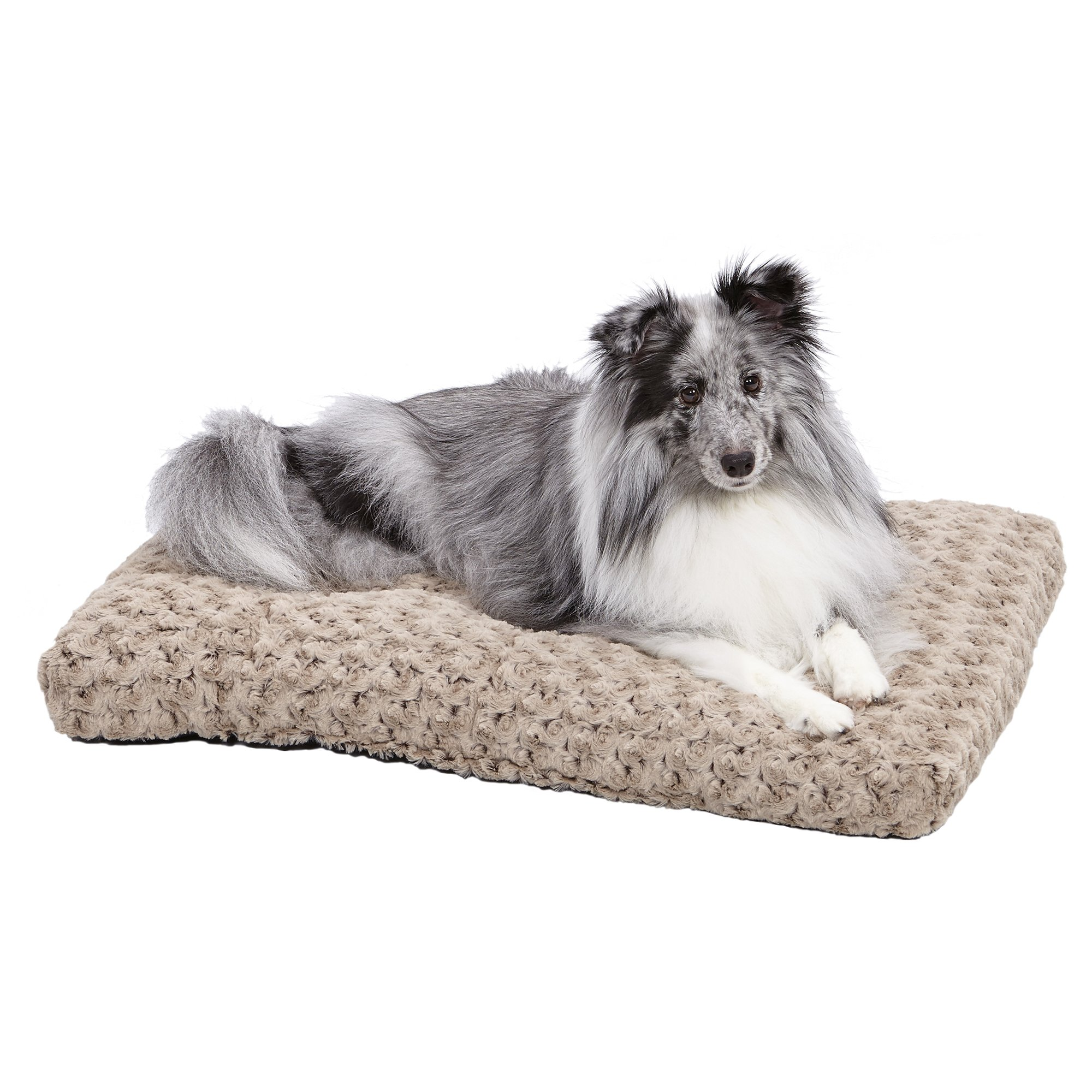 Plush Dog Bed | Ombré Swirl Dog Bed & Cat Bed | Mocha 29L x 21W x 2H-Inches for Medium Dog Breeds