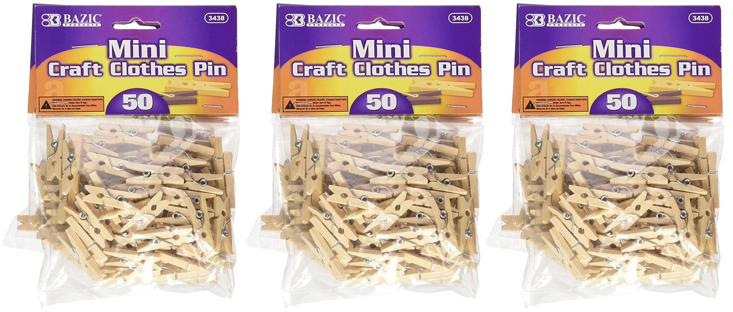 BAZIC dpVzHL Mini, Natural Clothespins, Wood, 50 Per Pack, 3 Units