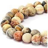 BRCbeads 华丽天然宝石光滑哑光圆散珠 变体颜色和材质用于珠宝制作 疯狂玛瑙 8mm