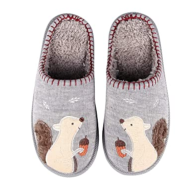 20f33204230 Animal Memory Foam House Slippers Cute Squirrel Indoor Slippers w Soft  Waterproof Sole Fuzzy Clog