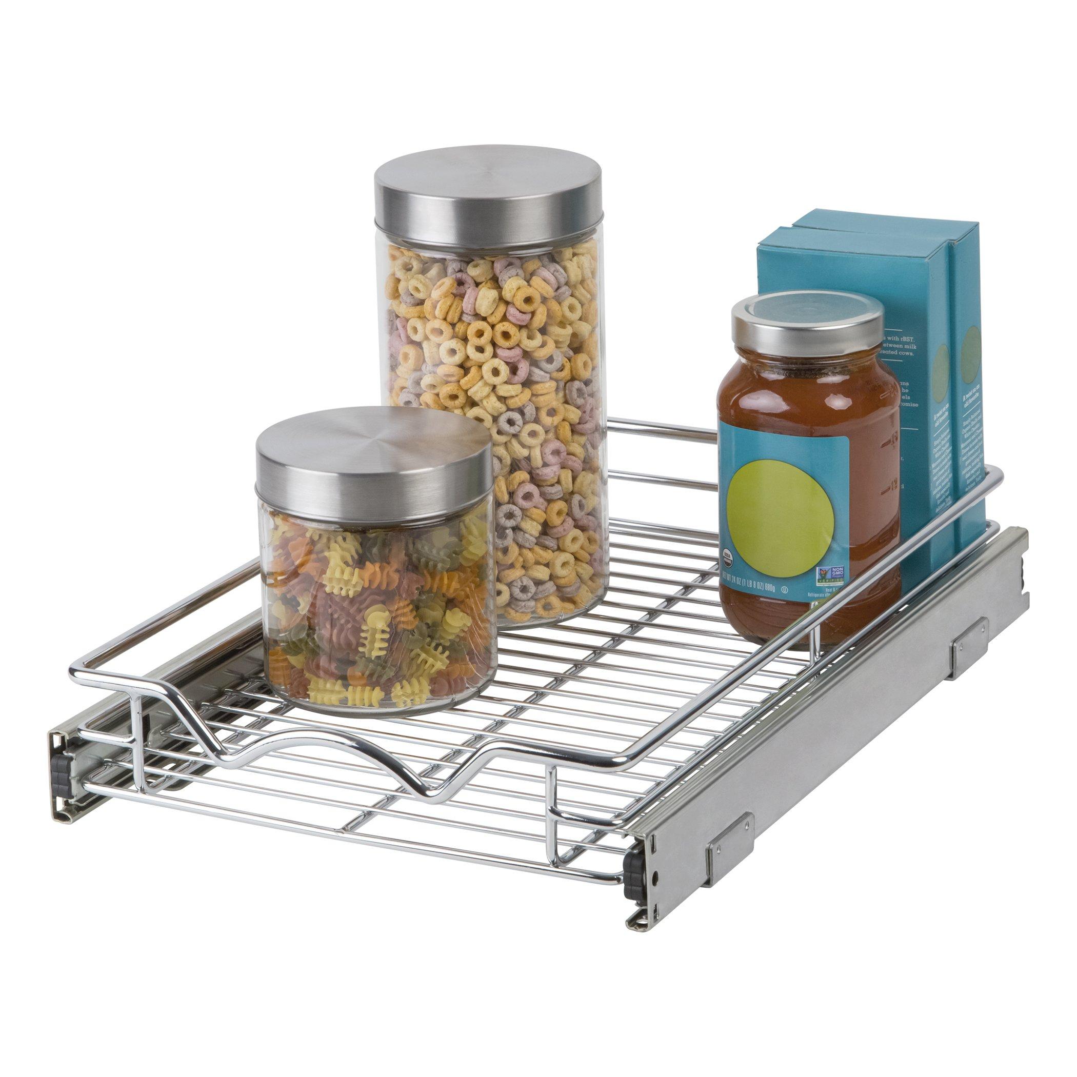 "Slide Out Cabinet Organizer - Chrome One Tier 11''Wx 18""D, Slide Out Kitchen Cabinet Organizer and Pull Out Under Cabinet Pots & Pans Sliding Shelf by Richards Homewares"