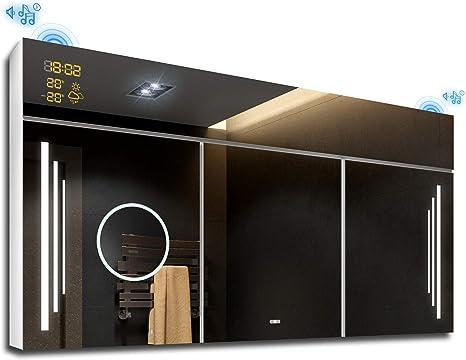 Armario de Baño con Espejo e Iluminado LED 100 x 72 x 17 cm ...