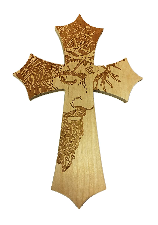Amazon.com: Jesus\' Face Laser Engraved Wooden Cross: Home & Kitchen
