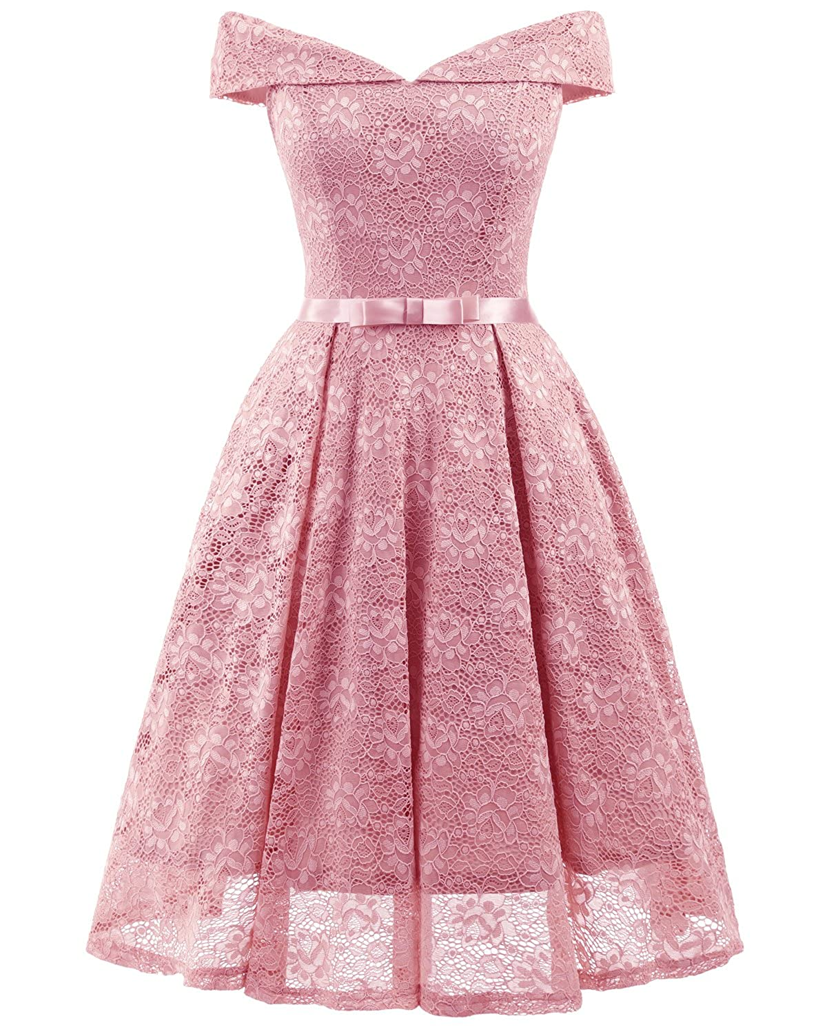 Bright Deer Women Bardot Lace Vintage Midi Skater Dress Party Cocktail Special Occasion