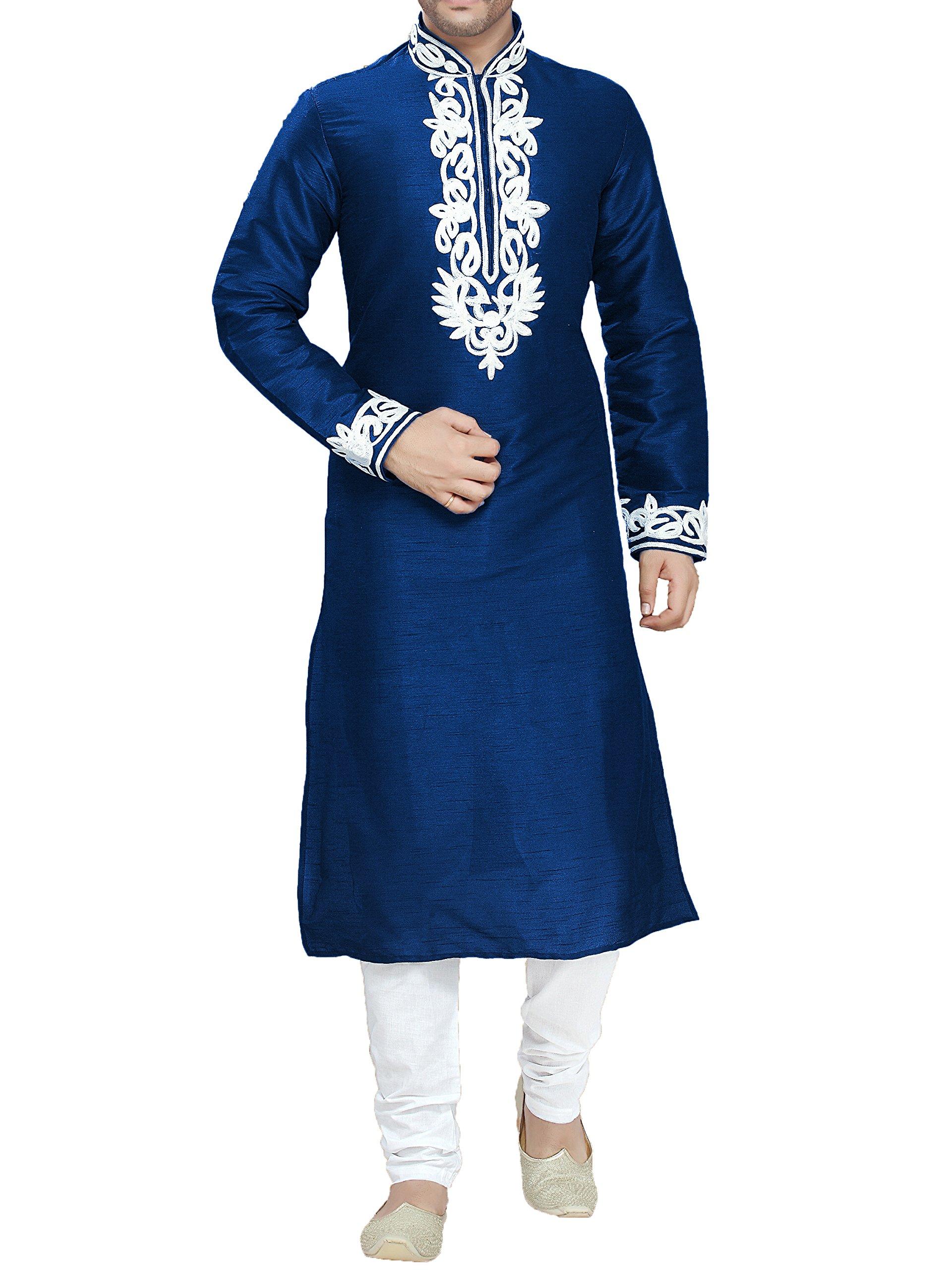 Kurti Mania Men's Cotton Kurta Shalwar Bold Embroidery (Blue, L)