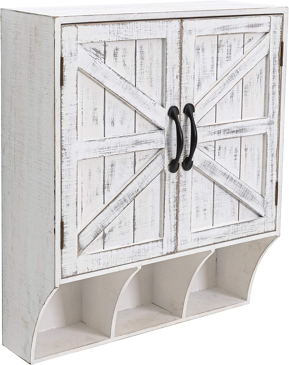 HAWOO Farmhouse Bathroom Wall Storage Cabinet Over Toilet with Magnetic Doors and 3 Storage Compartment, White-Washed Finish