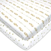 American Baby Company Printed 100% Natural Cotton Jersey Knit Fitted Portable/Mini-Crib Sheet, Taupe Feather and Triangles, Soft Breathable, for Boys and Girls, Pack of 2