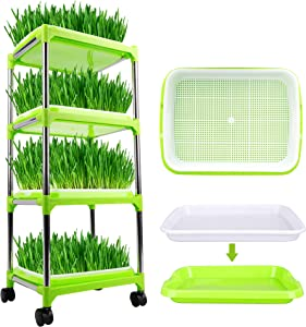 FiGoal 4 Layers Sprout Tray with Super Strength Shelf Soil-Free Seeds Grower and Storage Trays for Garden Home Kitchen Use with Bonus Spray Bottle Zero Experience Needed