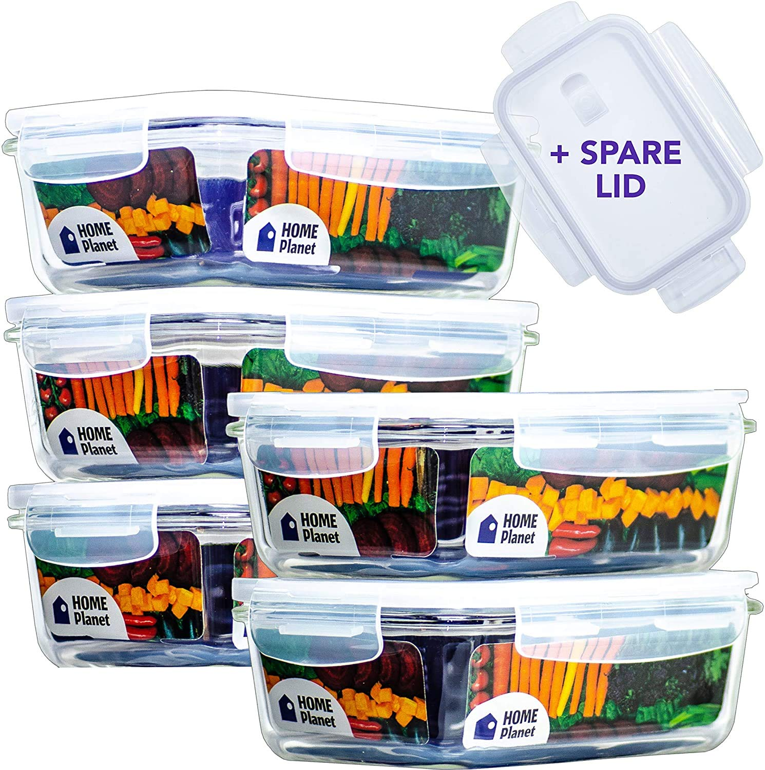 Home Planet Glass Meal Prep Container 3 Compartment with Cutlery Set