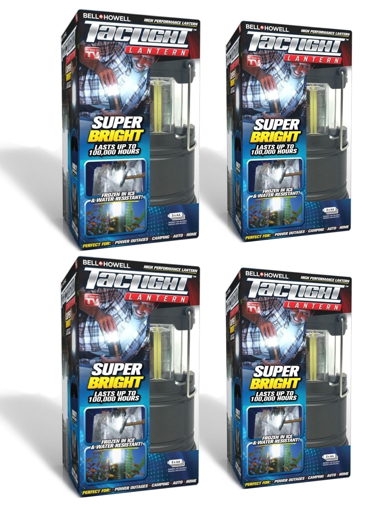 Bell + Howell Taclight LED Lantern with Automatic On/Off Function (Pull up OR push down), Collapsible As Seen On TV (Pack of 4) by Bell + Howell