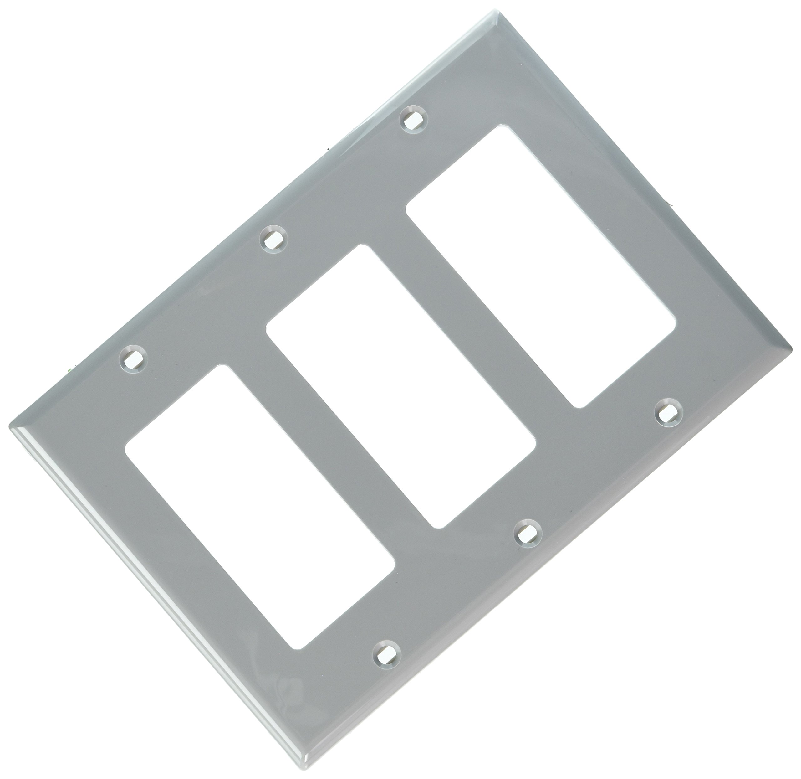 Leviton 80411-NGY 3-Gang Decora/GFCI Device Decora Wallplate, Standard Size, Thermoset, Device Mount, Gray, 10-Pack