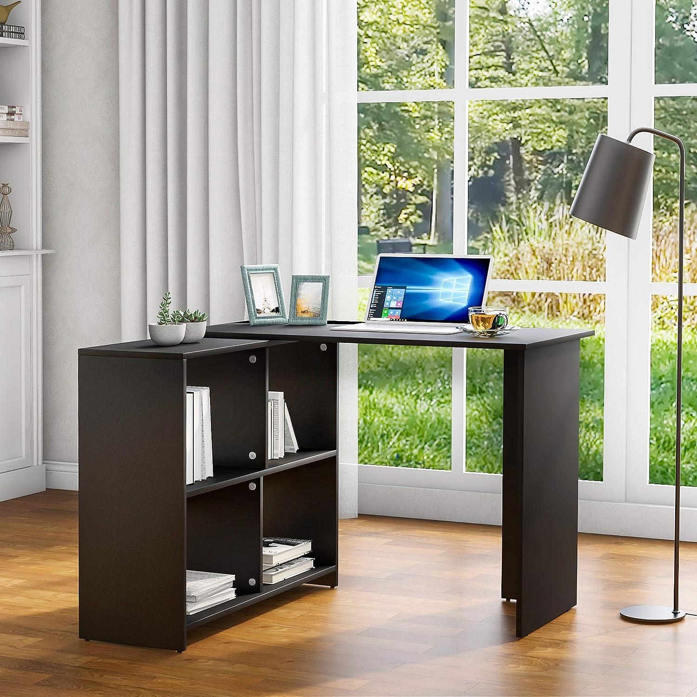 Black Corner Desk Computer Workstation for Gaming Study Home Office Living Room ModernLuxe L Shaped Desk