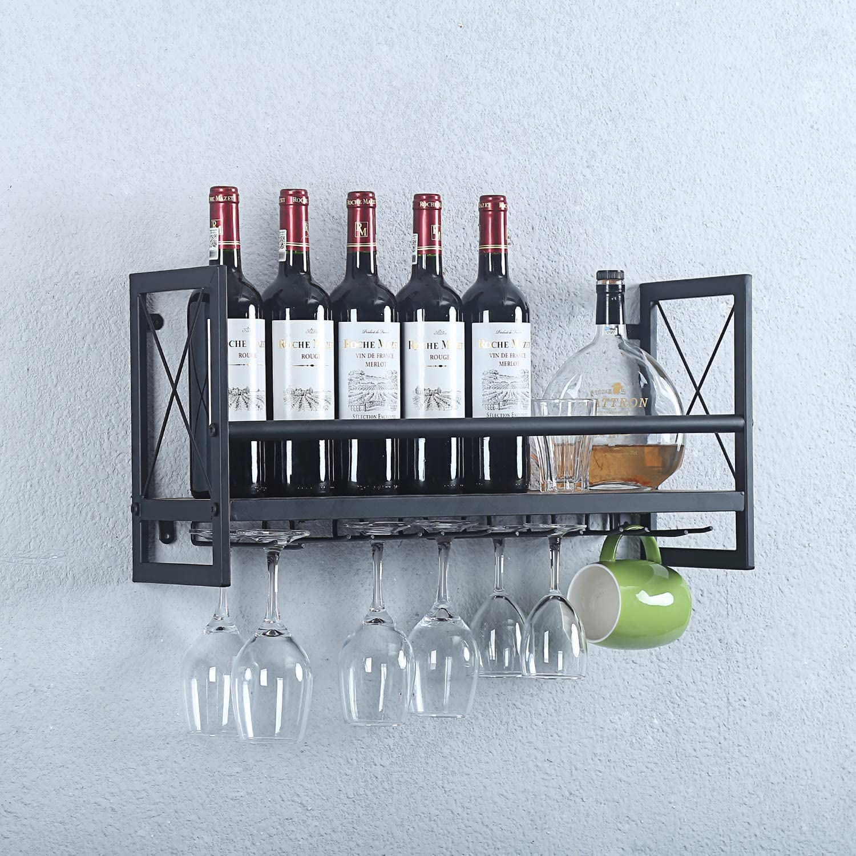 Womio 24in Rustic Wine Racks Wall Mounted with Stemware Racks,Industrial Metal Hanging Wine Holder,Bottle Holder with 7 Stem Glass Holder,Metal/&Wood Distressed Wall Shelf