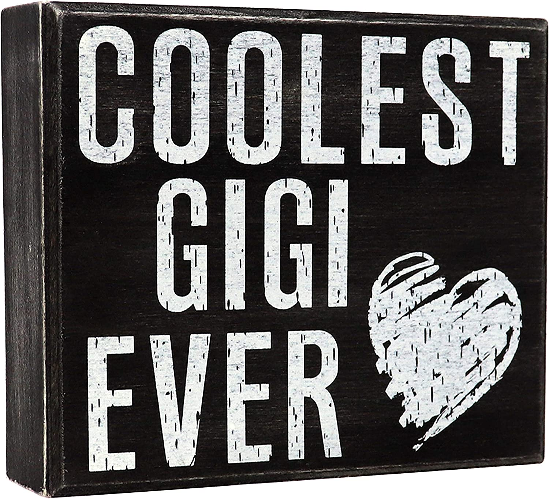 JennyGems Gigi Sign, Coolest Gigi Ever - Stand Up Sign - Wooden Box Sign - Gigi Gift, Gift for Gigi, Shabby Chic Rustic, Shelf Knick Knacks