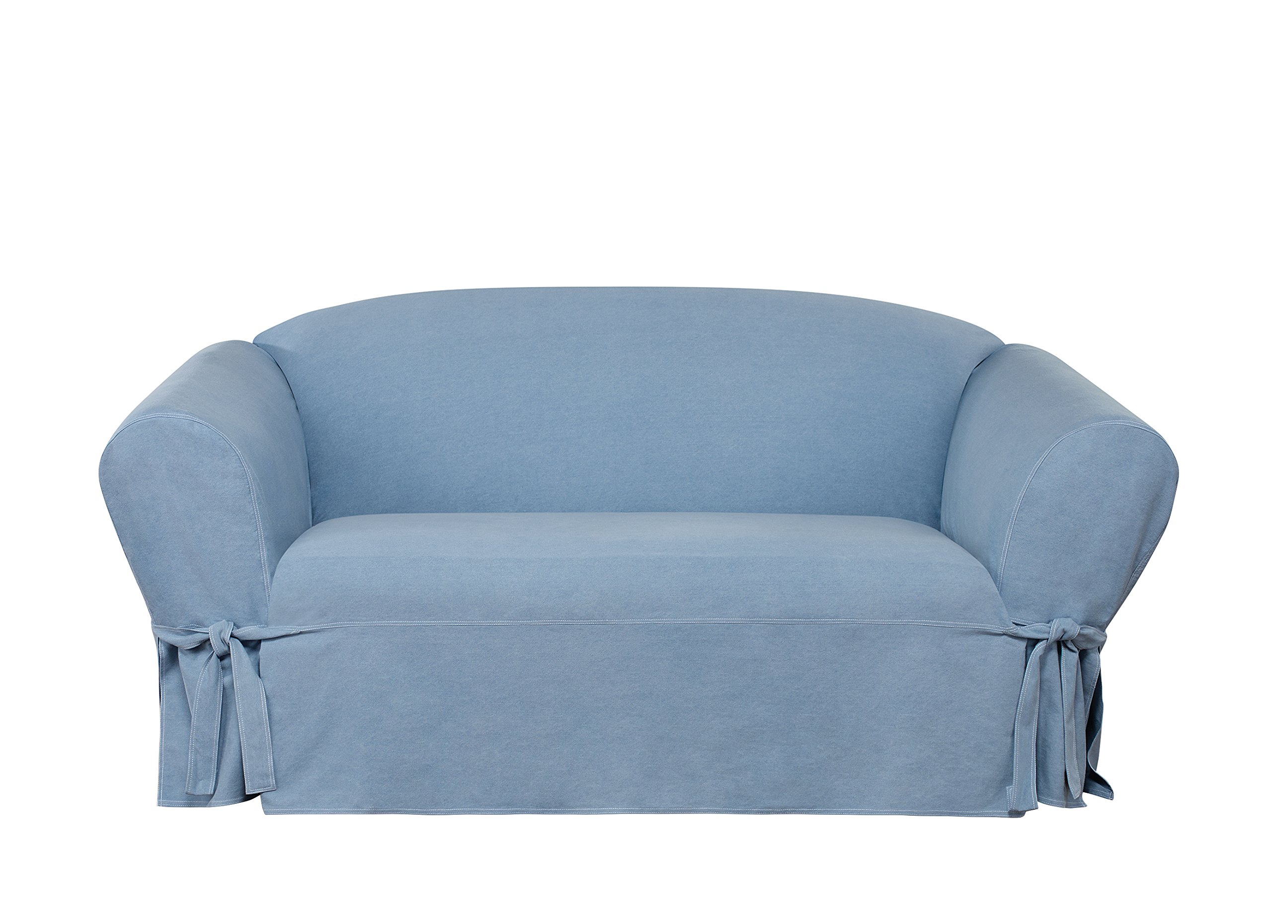 Sure Fit Authentic Denim One-Piece Loveseat Slipcover, Box Cushion - Chambray