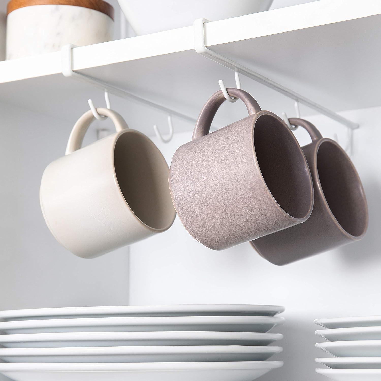 Better Houseware 1417 Under Shelf Cup & Mug Hooks (Set of 2), White