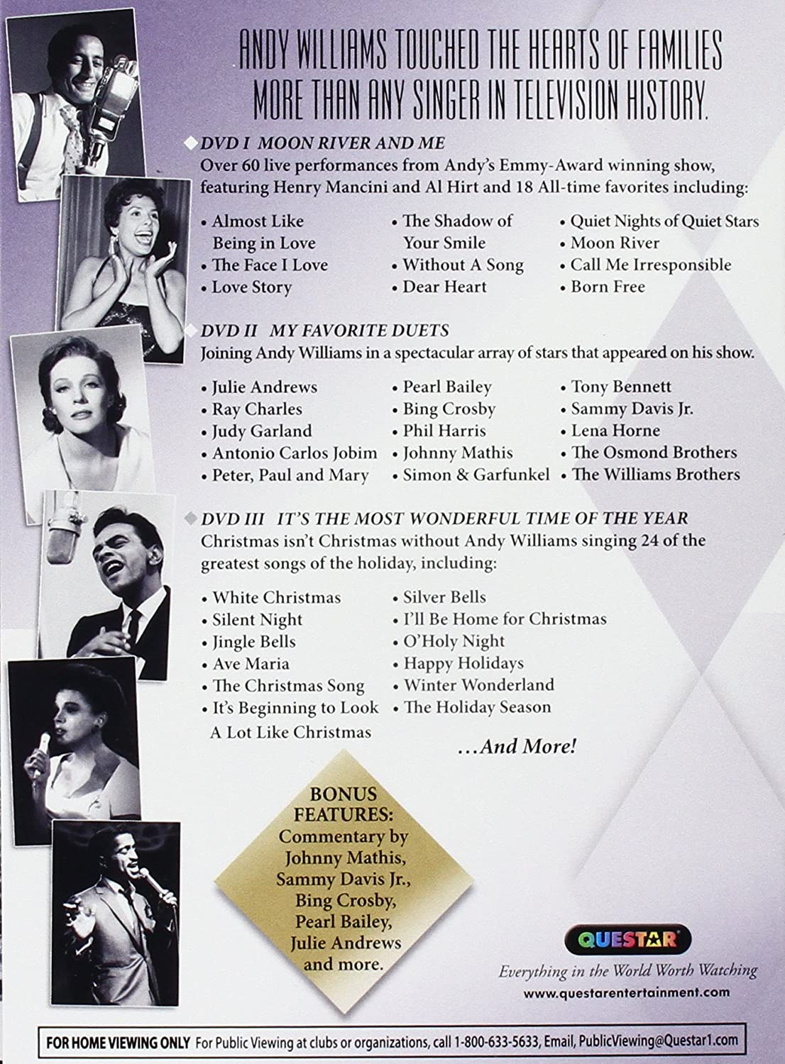 Amazon.com: Best of Andy Williams Collection 3 pk.: Lena Horne ...