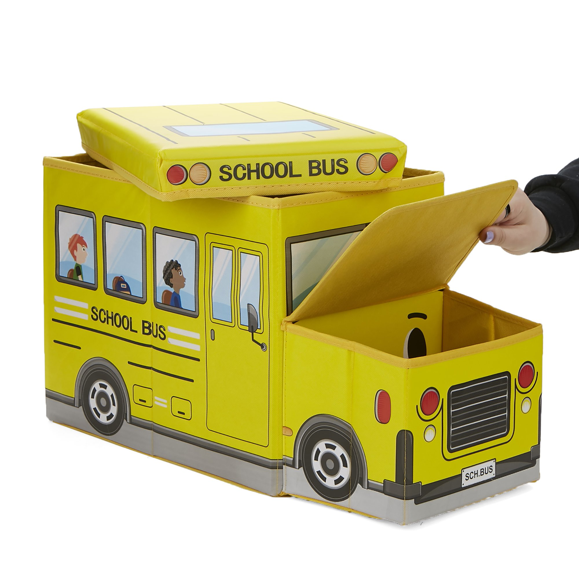 Mind Reader BUSTOOL-YLW Children's Favorite Cartoon Storage Stool/Chair School Bus Vehicle, Yellow