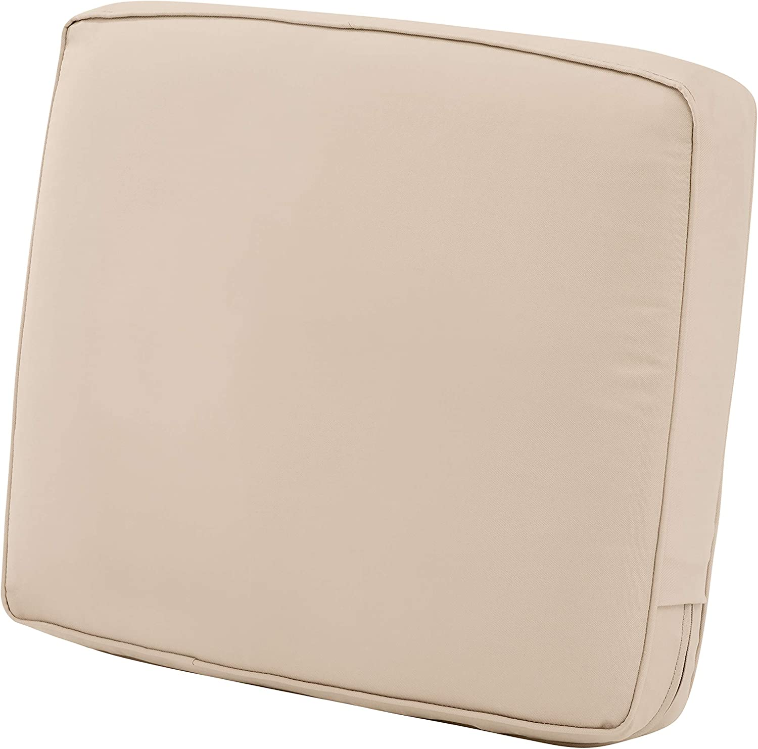 "Classic Accessories Montlake Back Cushion Foam & Slip Cover, Antique Beige, 23x20x4"" Thick"