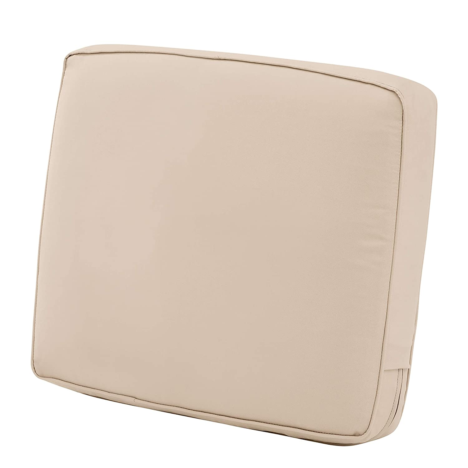 "Classic Accessories Montlake Back Cushion Foam & Slip Cover, Antique Beige, 25x22x4"" Thick"