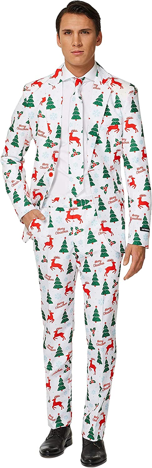 Suitmeister Christmas Suits for Men in Different Prints Ugly Xmas Sweater Costumes Include Jacket Pants /& Tie