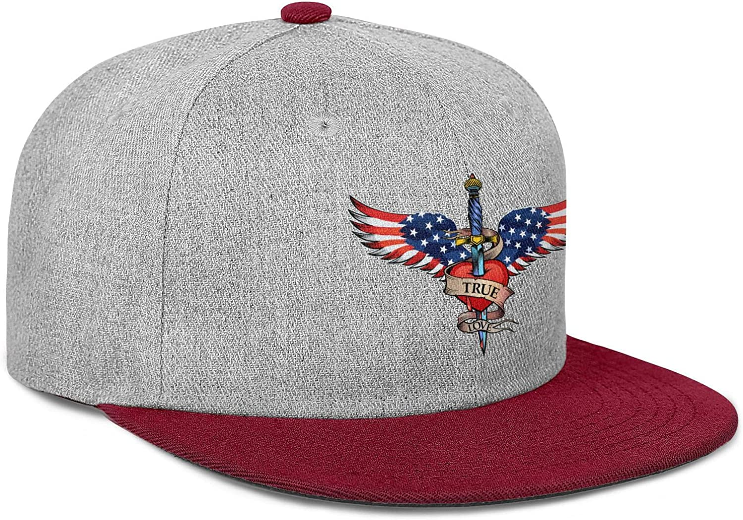 FYFYOK Mens Women Flat Hat USA Flag Wing and Heart Snapback Adjustable Caps