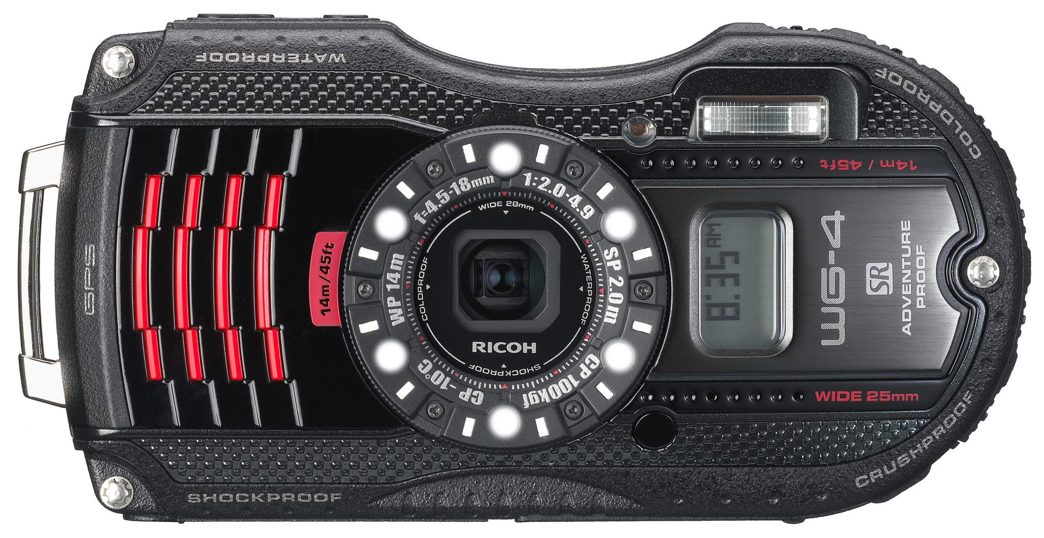 Waterproof digital camera black waterproof 14m; shock-resistant 2.0m; cold -10 degrees RICOH WG-4GPSBL 08558 - International Version (No Warranty)