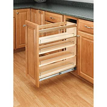 Rev-A-Shelf 448-BC-6C 6.5 Inch Pull Out Wood Base Kitchen Cabinet Organizer