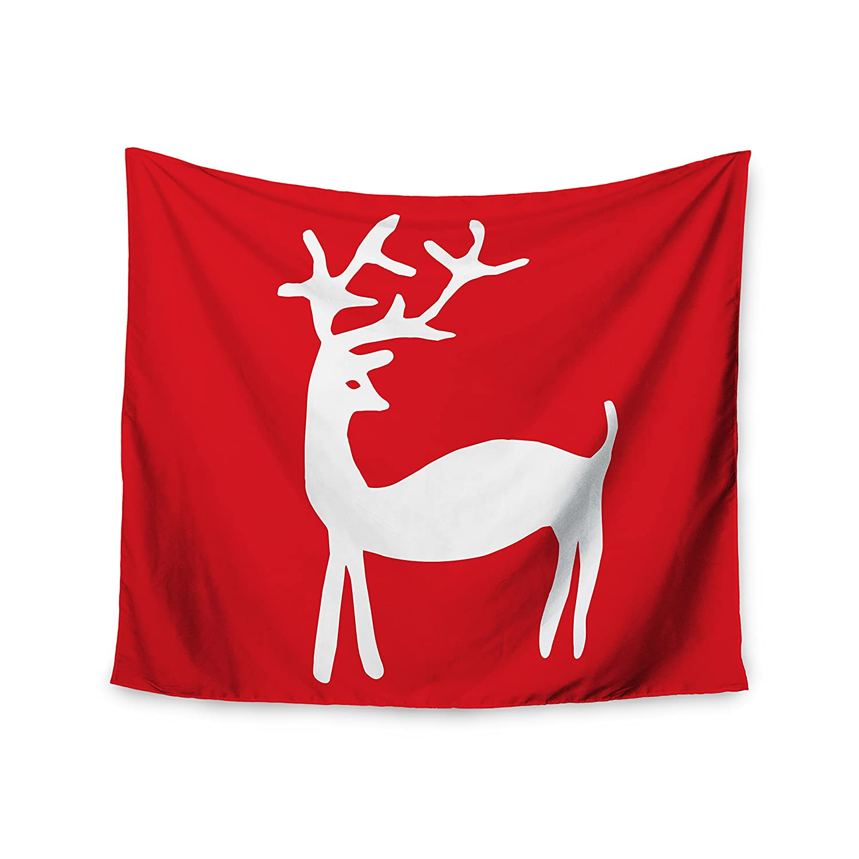 51 X 60 Kess InHouse Miranda MOL Reindeer Red Holiday Wall Tapestry