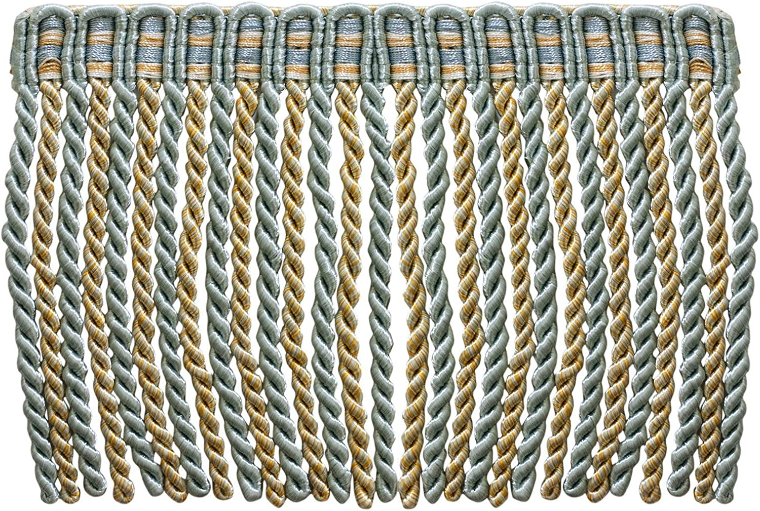 D/ÉCOPRO Brush Fringe Trim|1 3//4 45mm Silver Blue, Gold, Off-White - Island Breeze |Sold by The Yard |Style#: 0175HB|Color: 5939