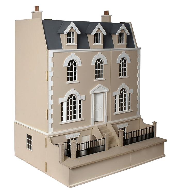 Amazon.es: Kit para Armar una Casa de Muñecas de Madera (MDF) - Escala 1:12 - Estilo Georgiano - Sin Pintar y Lista para Ensamblarse: Juguetes y juegos