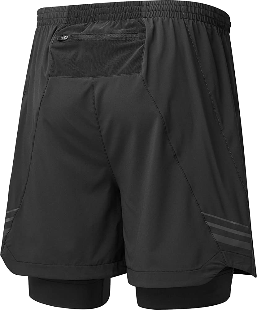 Black Ronhill Stride 5 Inch Mens Running Shorts