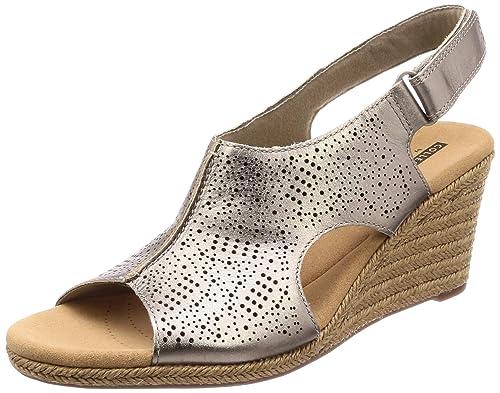7c649084f9d Clarks Women s Lafley Rosen Pewter Metallic Leather Fashion Sandals-3.5  UK India (36