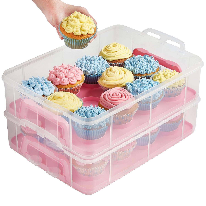 vonshef snap and stack pink 3 tier cupcake holder