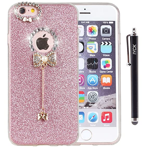 83fe371a01 iPhone 6 Plus Case, iYCK 3D Handmade Luxury Diamond Rhinestone Hybrid  Glitter Bling Shiny TPU