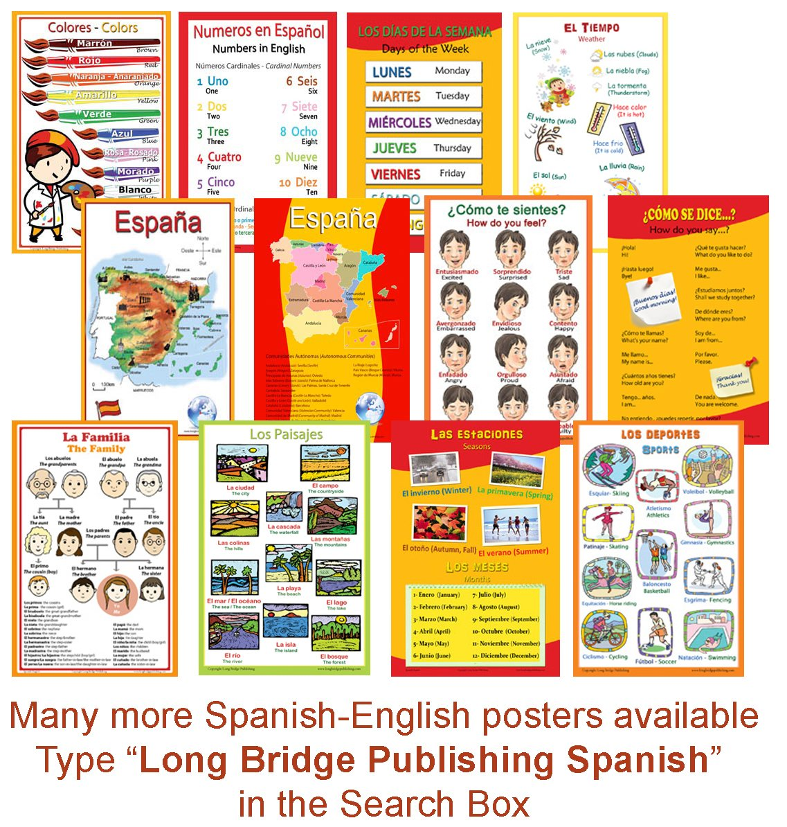 Spanish Language School Poster Set - 2 Maps of Spain: Simplified Map and Map with the 17 Autonomous Communities - Wall Charts for Home and Classroom - Spanish and English Text (11x17 inches)