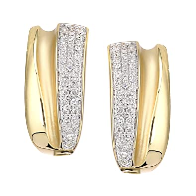 bb38209dc Naava Women's 18ct Yellow Gold Diamond Huggie Hoop Earrings: Amazon ...