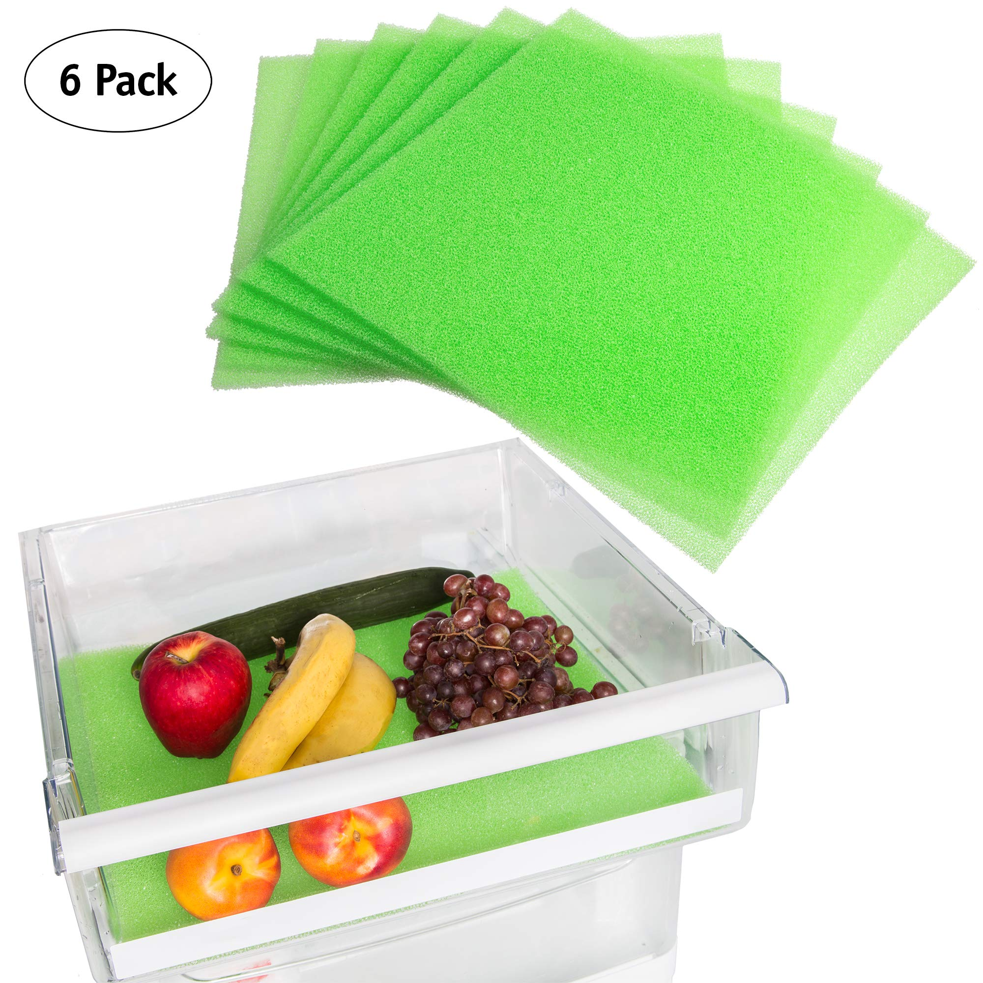 Fruit and Veggie Life Extender Liner by Tenquest 6-Pack, 15X14 Inch, Refrigerator Shelf - Produce Saver, Extends Life and Keeps Refrigerator Fresh Prevents Spoilage -Instructions Included …