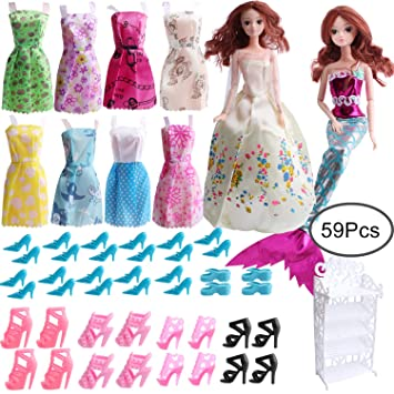 89fdc1238 Outee 59 Pack Doll Clothes Set Handmade Fashion Doll Dress Outfit  Accessories for Barbie Clothes