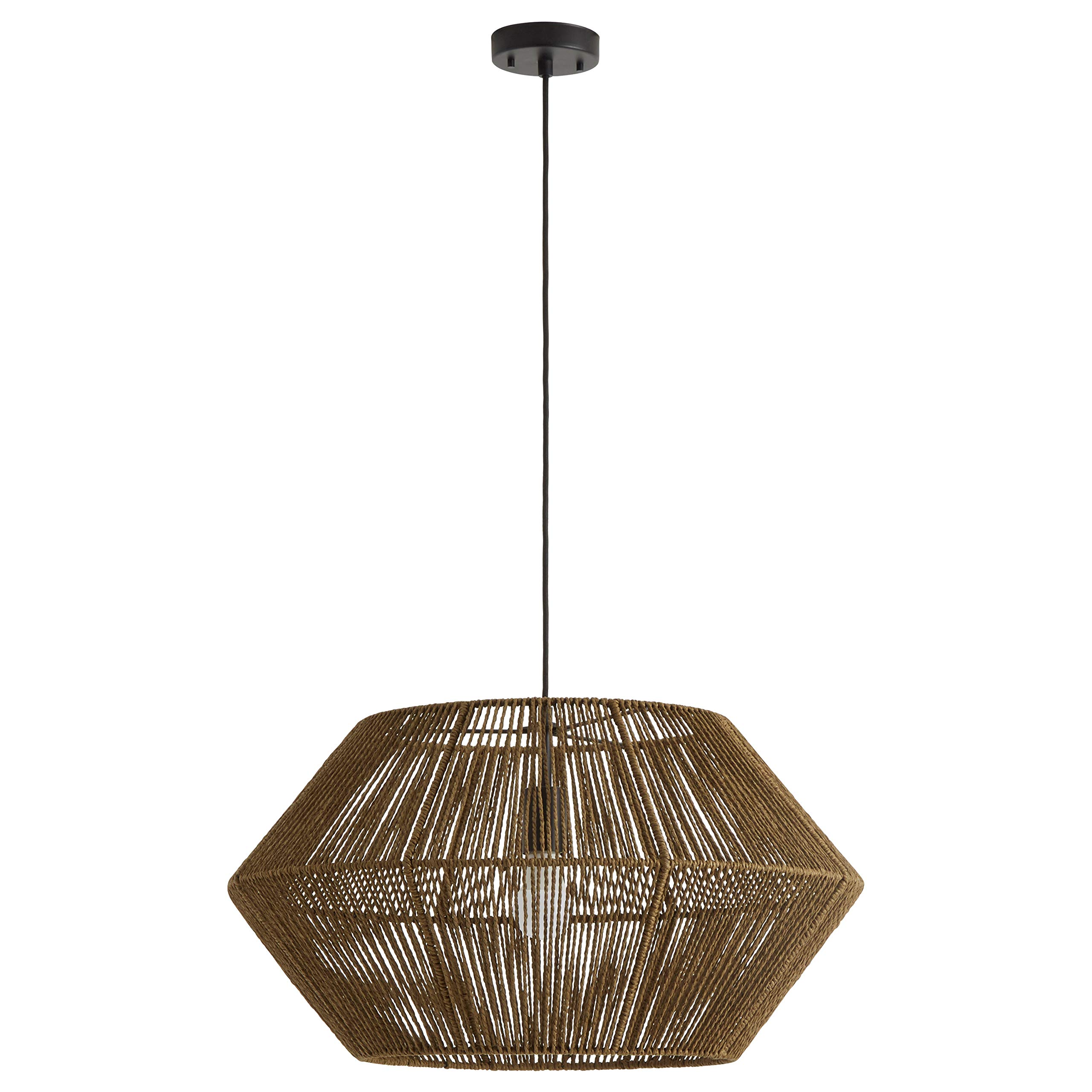 Rivet Rustic Natural Material Construction Pendant Light with Bulb, 60''H, Brown