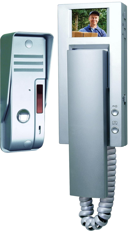 Smartwares 10.007.52 Filaire 4 Lignes Portier visiophone//interphone vid/éo-Couleur Argent vd54a SW Gris