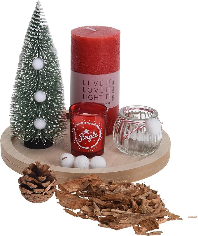 URBNLIVING - Juego de 7 Velas de Navidad con Bandeja y árbol de Navidad: Amazon.es: Hogar