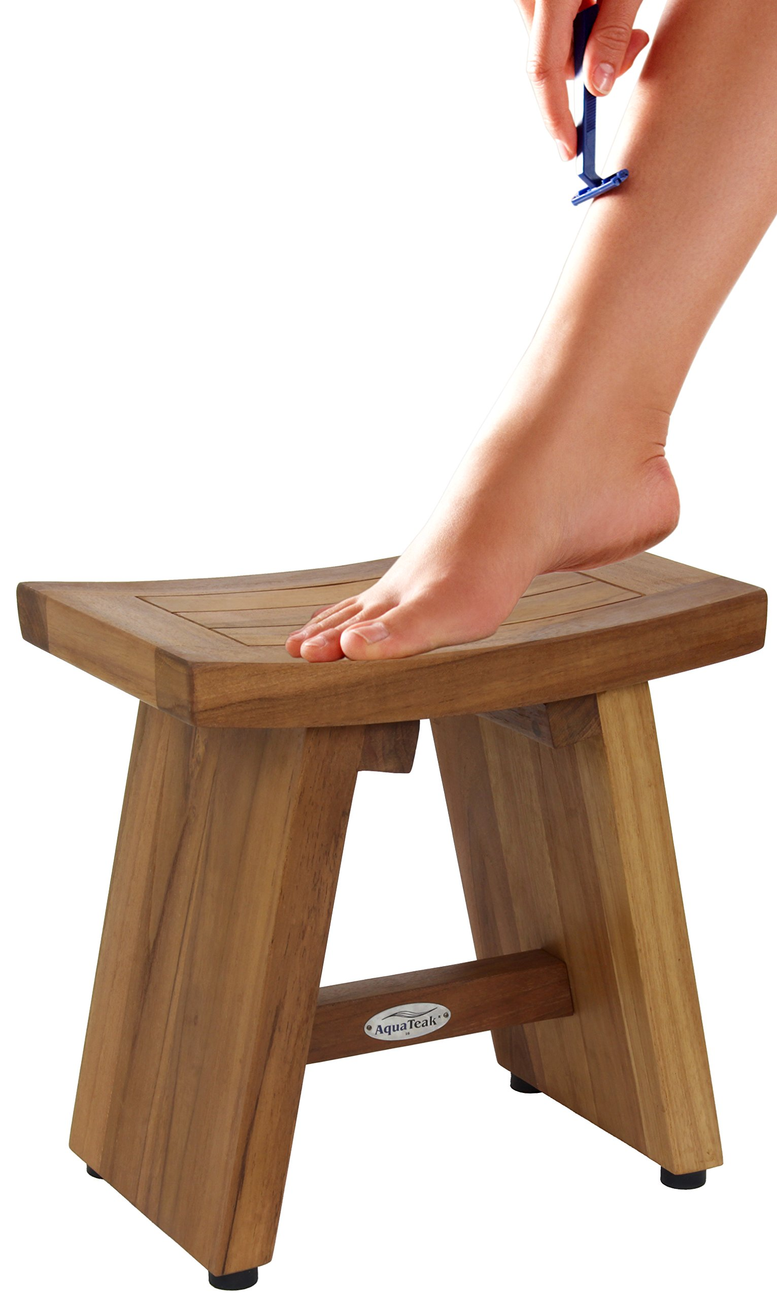 13'' Asia Teak Shower Foot Stool