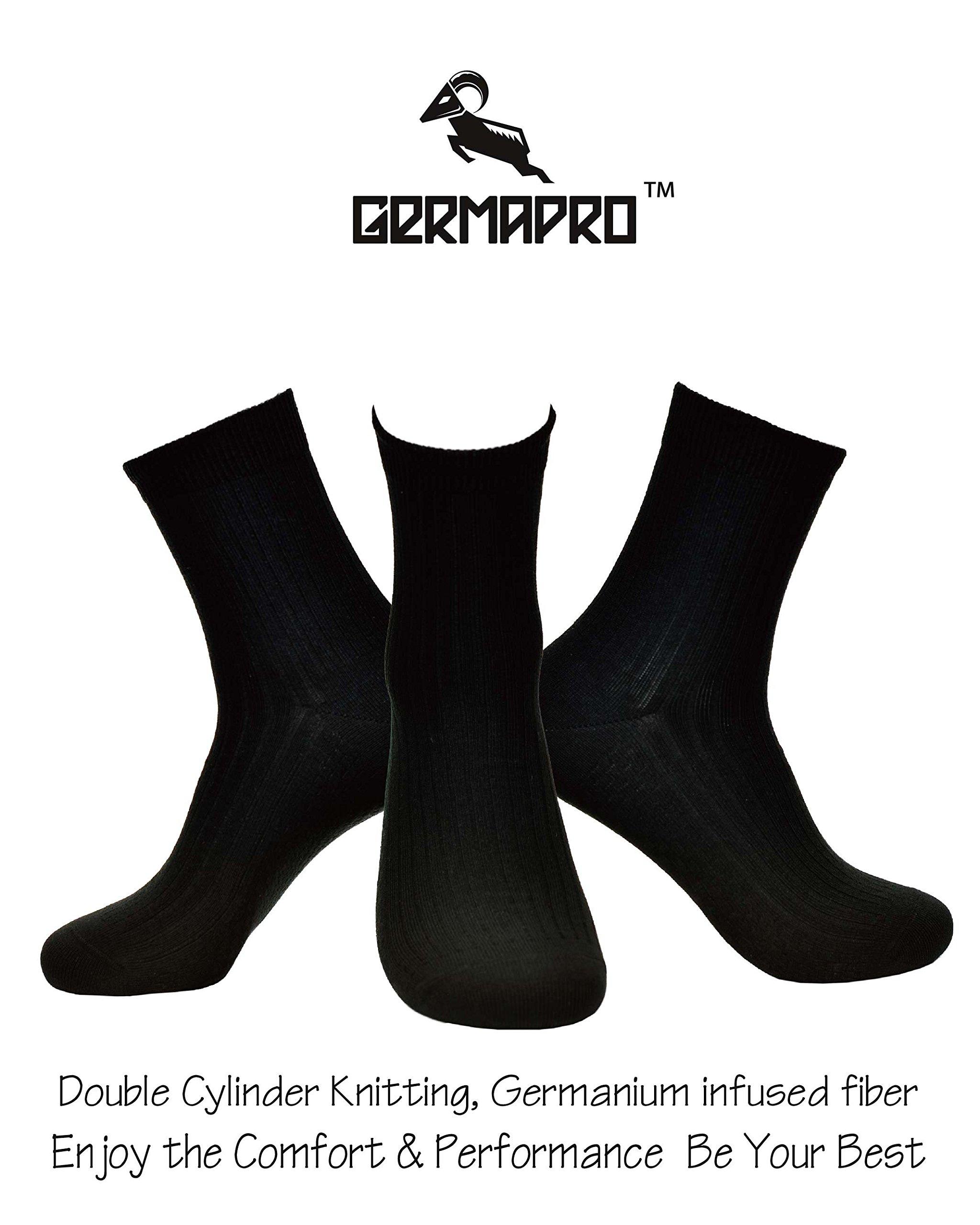 Men's Germanium Infused Anti Bacterial Anti Fungal Anti Odor Functional Circulation Mid Crew Dress Socks (Black, Large) by GERMAPRO (Image #5)