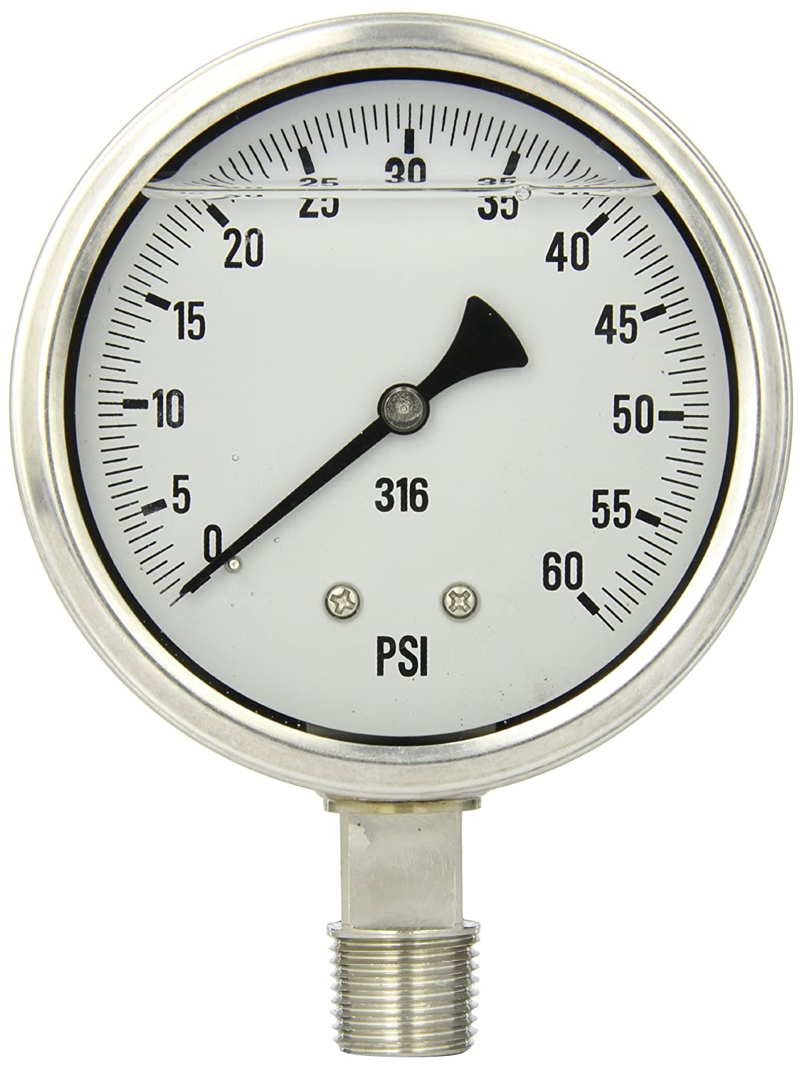 1//2 Male NPT Connection Size PIC Gauge S301L-402D 4 Dial Stainless Steel Bezel Bottom Mount Single Scale Glycerine Filled Pressure Gauge with a Stainless Steel Case and Internals 0//60 psi Range and Polycarbonate Lens 1//2 Male NPT Connection Size