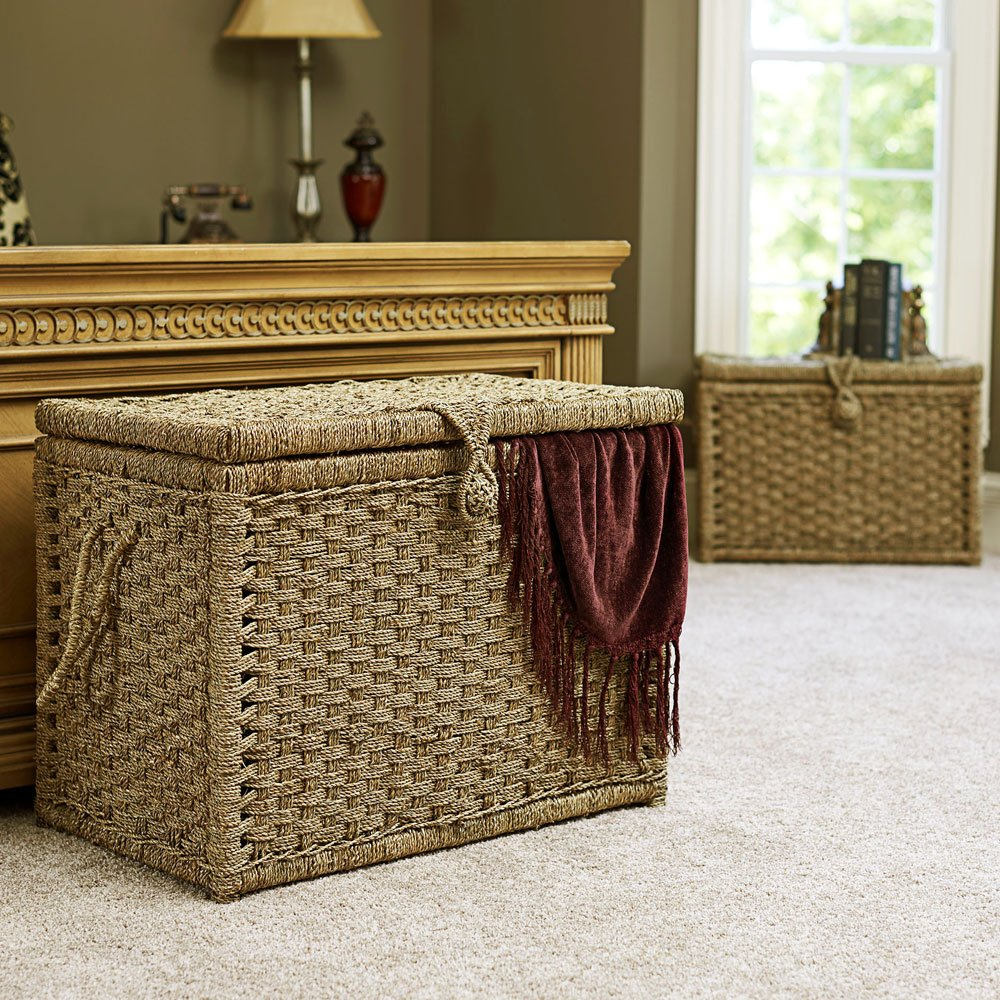 Household Essentials ML-6102 Seagrass Wicker Storage Chests with Hinged Lids | Set of 2