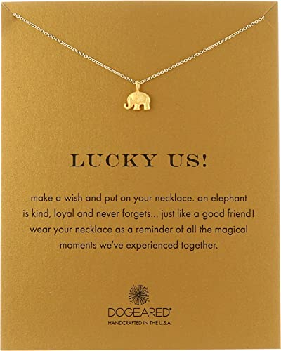 9add26f54b06b0 Amazon.com: Dogeared Women's Lucky Us Elephant Reminder Necklace Gold Dipped  One Size: Jewelry